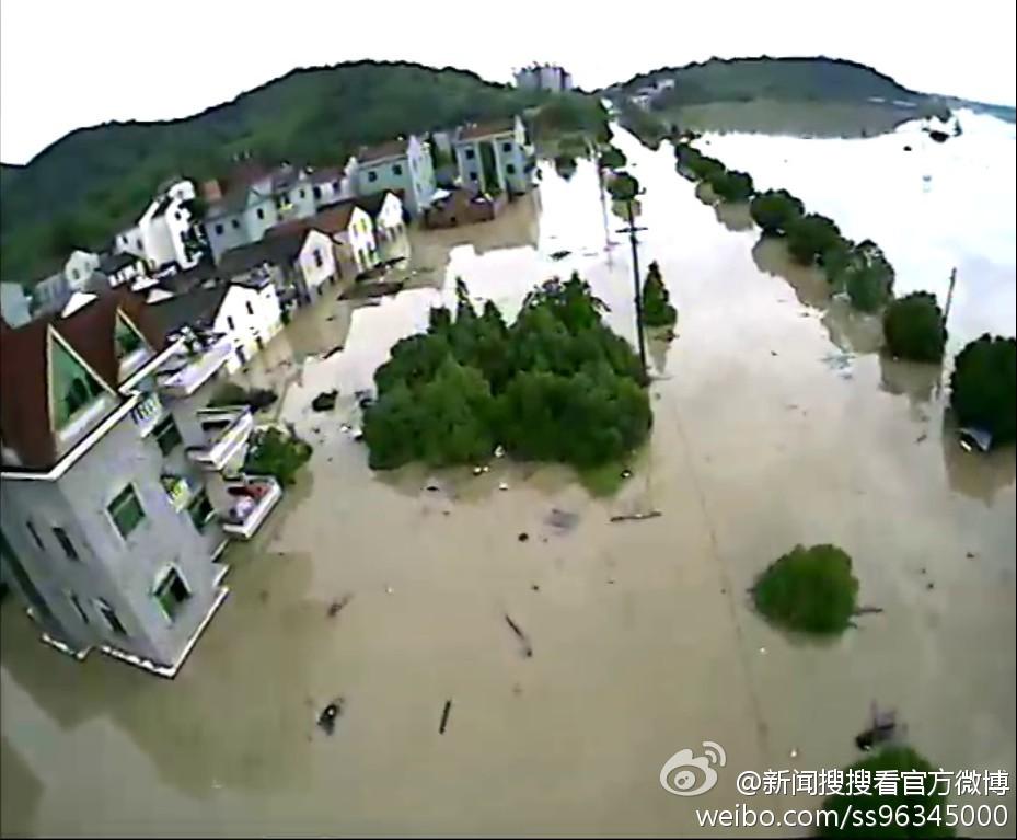 诸暨水灾航拍画面