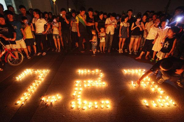 温州市民自发悼念遇难者