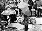 老人突逝路人撑伞