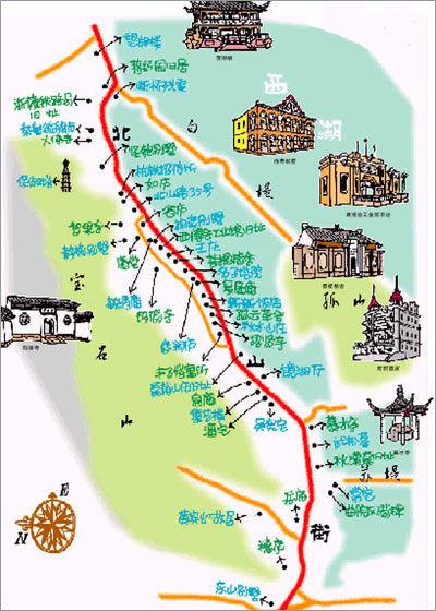 北山街游玩路线图