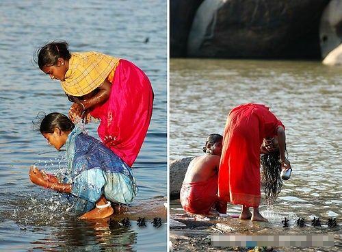 河中洗澡的印度女人(点击更多高清美图)