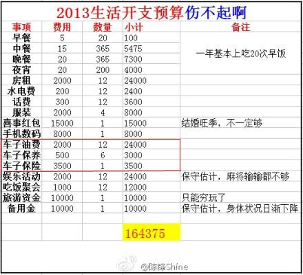 ★伤不起的2013生活成本预算(有车一族版)