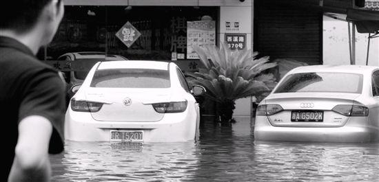 多辆小车不同程度浸水。