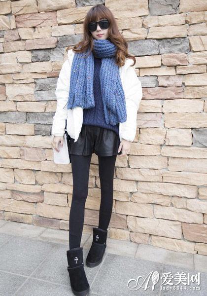 组图:棉衣配围巾雪天必备保暖显瘦穿搭