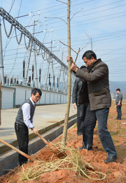 区委教育实践活动办公室工作人员与村民一道植树