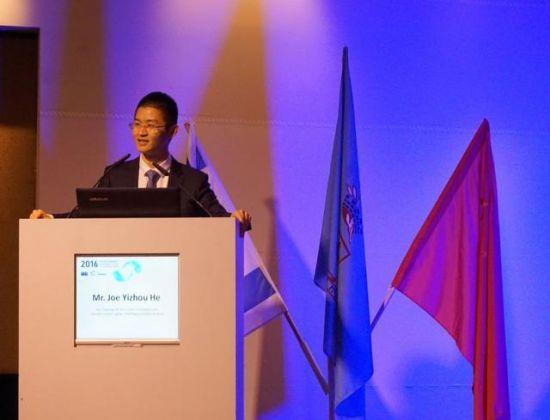 2016年11月14日,何逸舟在第五届中以高科技创业峰会上进行主题演讲。(图片来源:周奕凤/以色列时报)