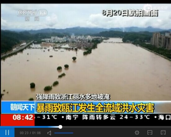 视频:航拍浙江丽水遭遇洪水 村庄乡镇一片汪洋